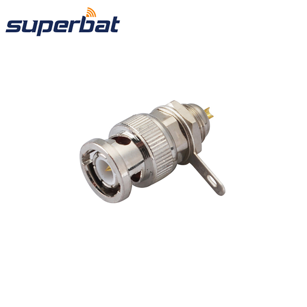 Superbat BNC Front Mount Plug Bulkhead with Solder Cup Straight RF Coaxial Connector