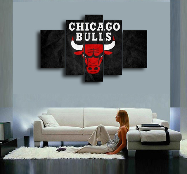 Chicago Bulls Hand Painted Wall Art Canvas Decoration Abstract Oil Painting Living Room Modern Home