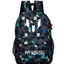 мужской рюкзак холст Школьная сумка для подростка мальчика рюкзак Месси рюкзак подростков футбольного мужская Рюкзаки Мужчины дети охладиться мешок