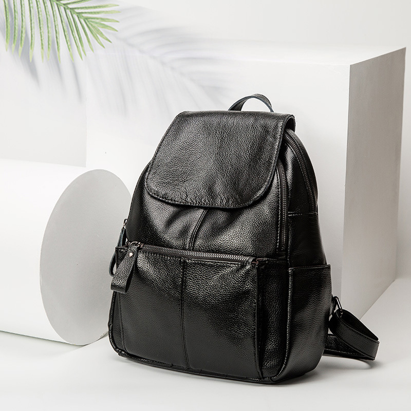 New 2018 Genuine Leather Women Backpack Zipper Travel Casual Real Leather Preppy Style School Bag Ladies Fashion Backpacks C677 цена