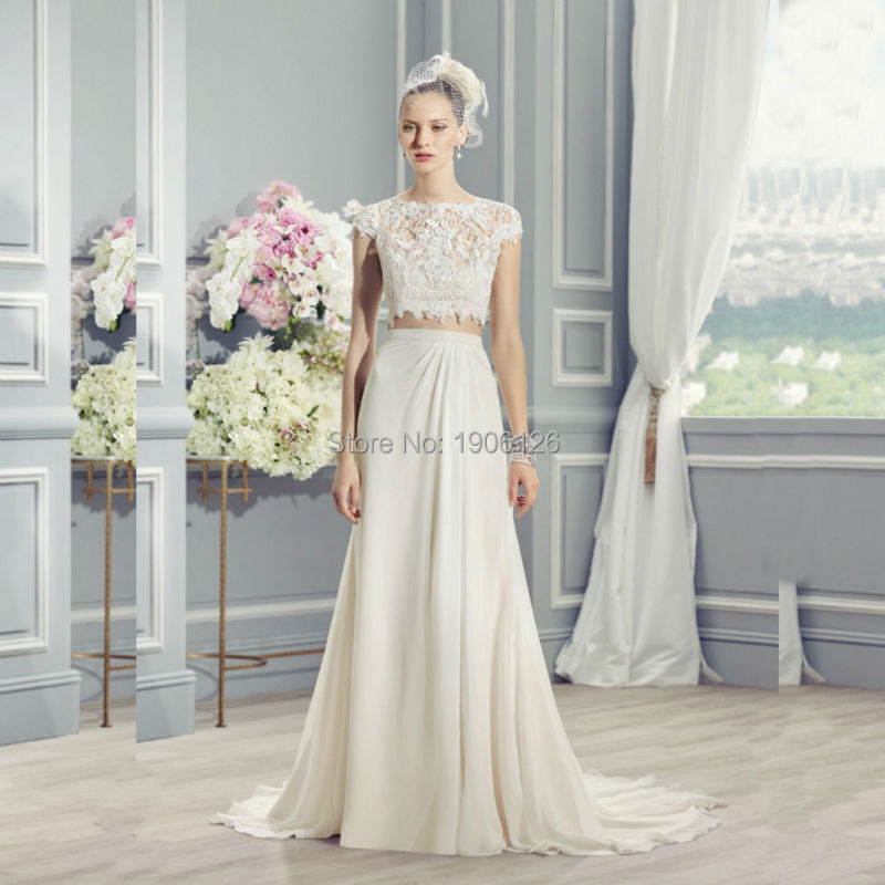 Wedding Dress White Vs Off White: Off White Lace Two Piece Wedding Dress Chiffon Bridal Gown