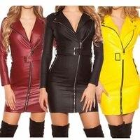 ZOGAA 2019 NEW Fashion Women Faux Leather Dress Sexy Party Short Dress Belt Slim Fit Mini V neck Dress Bandage Zipper Slim Dress