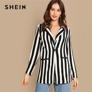 Image 3 - SHEIN Black And White Notch Collar Striped Textured Blazer Women Spring High Street Long Sleeve Single Button Casual Outer