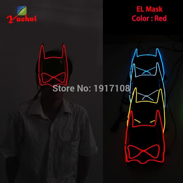 10 Farbe Fashion Batman Sound aktiviert EL draht Maske Halloween ...