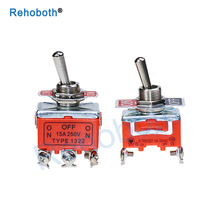 High Quality 1PCS TYPE1322 15A/250V 6 pin Waterproof Switch Cap On-Off-On Miniature Toggle Switches