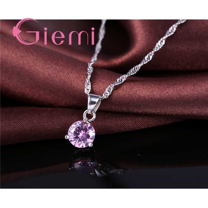 8 Colors925 Sterling Silber Hochzeit Elegante Schmuck Sets Kristall Anhänger Kragen Halskette Ohrringe Frauen Engagemnet Set