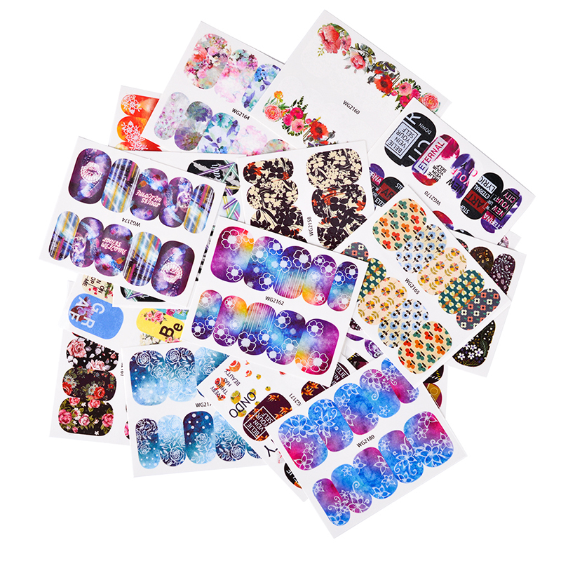 25pcs/set Flower Nail Water Decal Stickers Floral Pattern Transfer Sticker Manicure Full Wraps Nail Art Decor Tool SAWG2136-2160 4 packs lot full cover white french smile lace tattoos sticker water decal nail art d363 366w