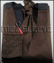 new arrive brown swirl  formal wear  waistcoat (vest+ascot tie+cufflink+handkerchief)