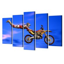 HD Prints Canvas Wall Art Living Room Home Decor Motocross Jumps Pictures 5 Pieces Paintings Posters Framework Abooly