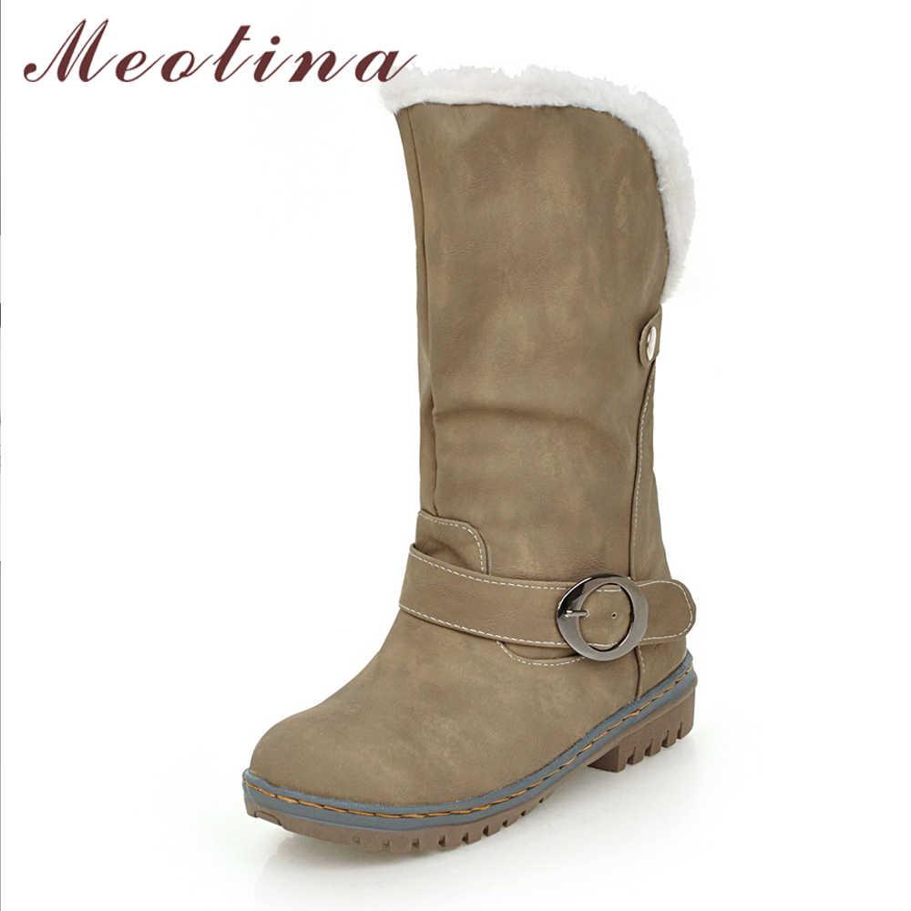 Meotina Kış Kar Botları Kadın Orta Buzağı Çizmeler Kış Toka Peluş Çizmeler Sıcak Bayanlar günlük ayakkabı Kahverengi Siyah Büyük Boy 34 -46