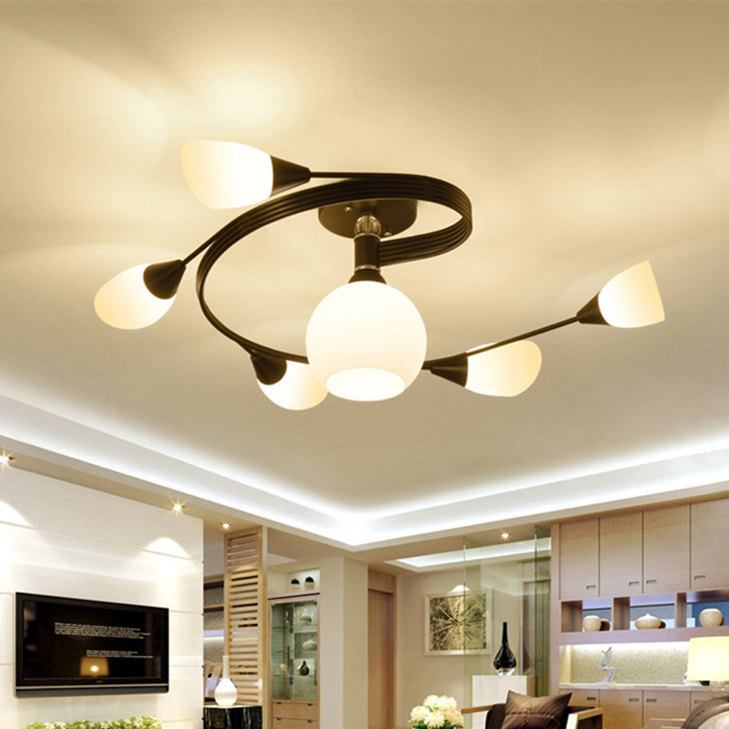 American country ceiling lamp modern simple living room lamp warm master bedroom lamp Nordic restaurant personality glass lamp