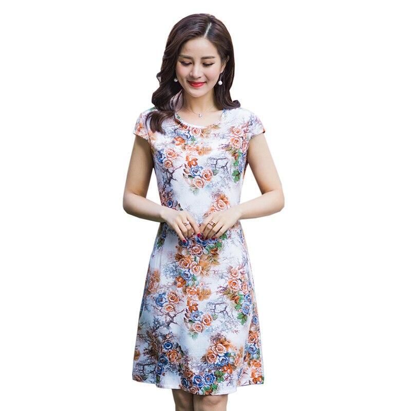 2018 Middle-aged Women Vintage Plus size Summer Dress Women Short Sleeves Fashion Print Dress Mother Summer Dress Vestidos