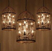 35/45cm Nordic Birdcage Crystal Pendant Lights Iron Cage Home Decor American Vintage Industrial Lamp Retro Lamparas Colgantes