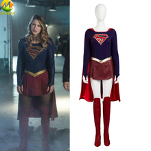 Supergirl Cosplay Costume Jumpsuit Skirt Superhero Carnival Halloween Leather Costumes For Women Custom Made