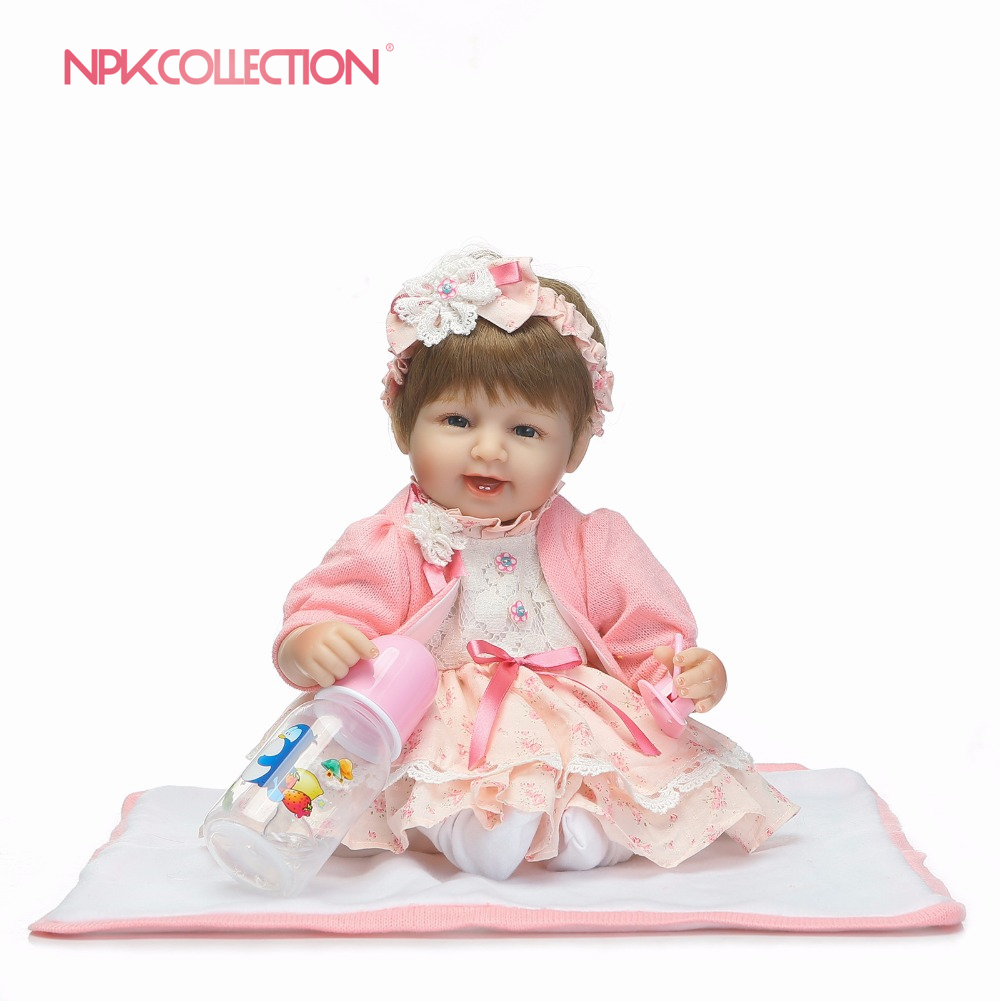 NPK Silicone reborn babies for girl lifelike 18 reborn baby doll with new knitting clothes boneca brinquedosNPK Silicone reborn babies for girl lifelike 18 reborn baby doll with new knitting clothes boneca brinquedos