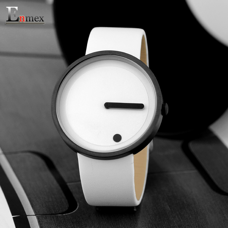 2017gift Enmex black & white Minimalist style wristwatch creative design Dot and Line simple stylish with  quartz  fashion watch 2017 gift enmex creative simple design brief face with a red pointer steel band water prof young and fashion quartz watch