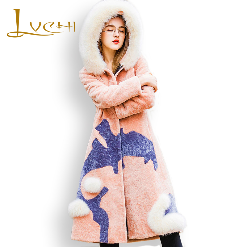LVCHI zima 2019 vysoce kvalitní s liščí kožešinou límec srst módní plášť kožešinový vzor móda ženy oblečení plus velikost kožichy