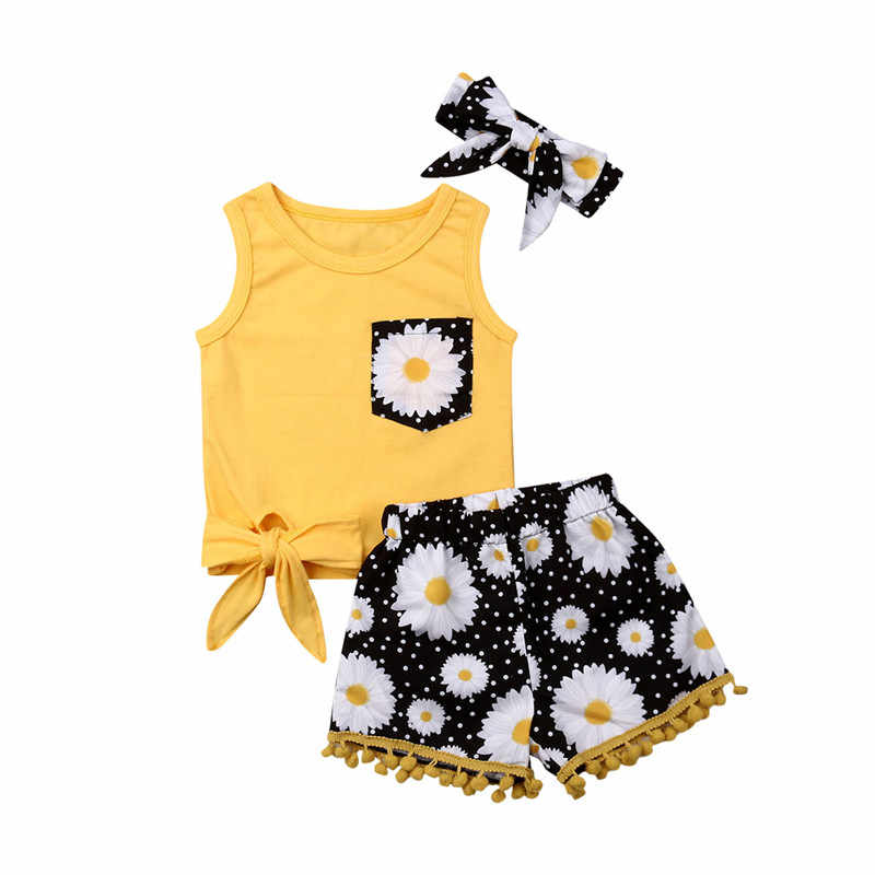 2019 Summer Boho Kids Baby Girls Clothes Beach Sets Pocket Vest Tops+Sunflower Shorts+Bow Headwear 3Pcs Child Girl Outfits 0-5Y