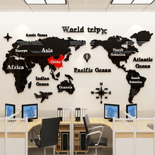 3D Acrylic World Map Wall Stickers Office decorative painting Corporate culture wall Living room self-adhesive sticker