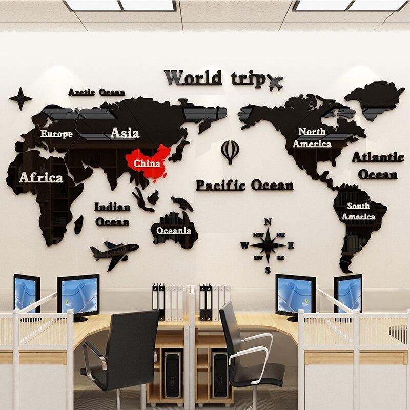 3D acrylique carte du monde Stickers muraux bureau décoratif peinture entreprise culture mur salon autocollant mural