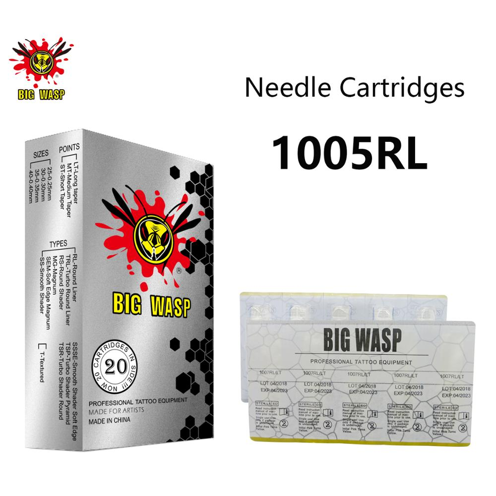 BIGWASP 1005RL Tattoo Needle Cartridges #10 Bugpin (0.30mm) 5 Round Liner (5RL) for Cartridge Tattoo Machines & Grips 20Pcs