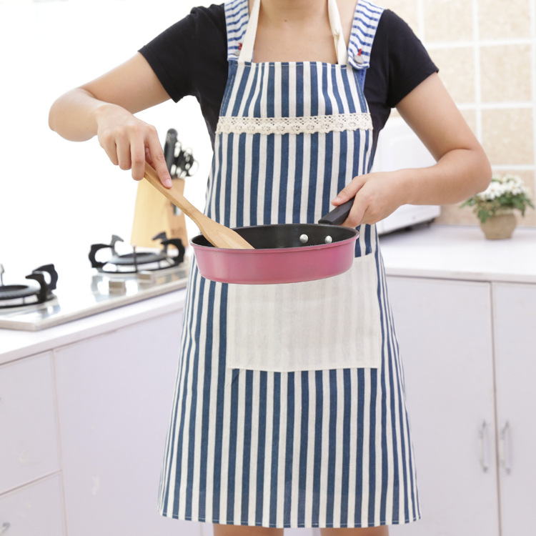 Stripe style sleeveless cotton linen cooking chef <font><b>apron</b></font> <font><b>kitchen</b></font> avental school for woman delantal cocina tablier <font><b>sexy</b></font> pinafore image