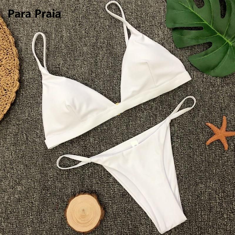 9 Colors Solid Bikini Set 2019 Sexy Push Up Swimwear Women Brazilian Swimsuit Low Waist Biquini Halter Two Pieces Bathing Suit