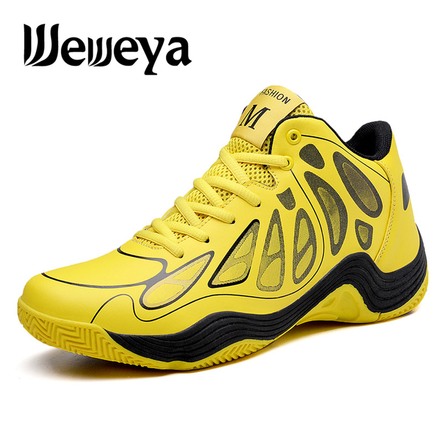 Weweya 2018 Brand Men Basketball Shoes Outdoor Breathable Sneakers High Quality Basket Homme Lace-Up Ultra Boost Trainers Yellow