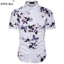 468736dff9b6 Masculinas camisas Casual 2018 moda verão Esconder botão floral 3D  impressão Fit camisa dos homens vestido de Manga curta Praia .