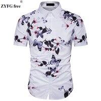 Male Casual Shirts 2018 Summer Fashion Hide Button 3D Floral Printing Fit Short Sleeve Beach Shirt