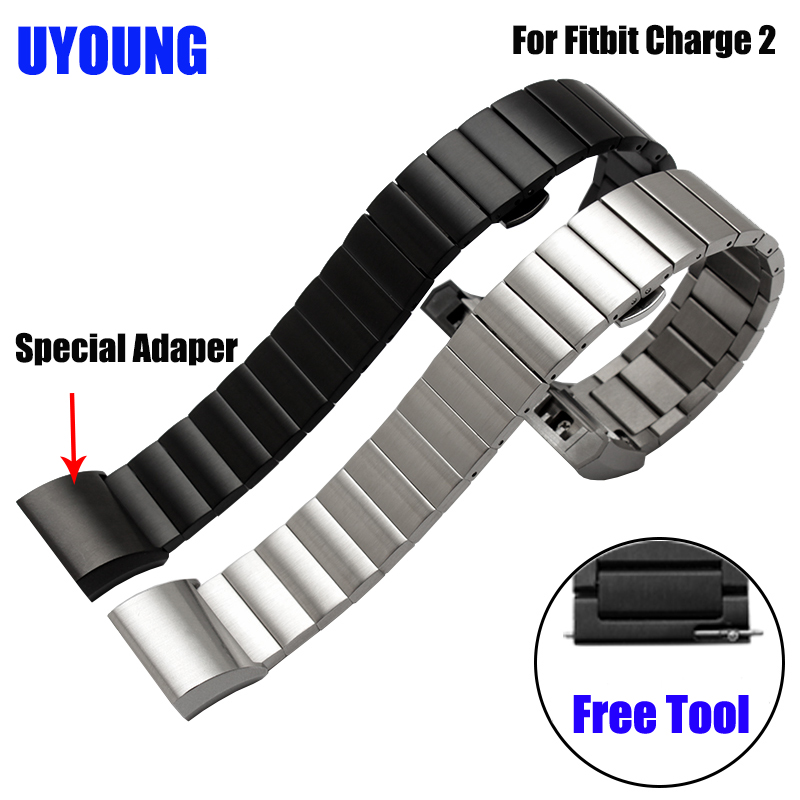 Quality Bracelet Stainless Steel Strap 18mm For Fitbit Charge 2  Smart Watch Metal Band With Adapter high quality lowest price wholesale kz 19 pneumatic combination steel metal strapping packing machine for 19mm steel strap tape