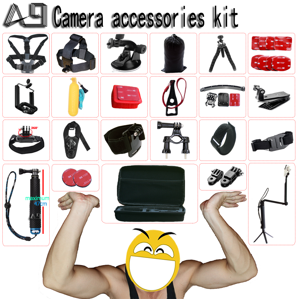 A9 for Xiaomi yi 4k Accessories set for go pro hero 5 4 3 kit mount for SJCAM SJ4000 / Gopro / eken h9 / sony action cam tripod shoot action camera accessories set for gopro hero 5 6 3 4 xiaomi yi 4k sjcam sj4000 h9 chest strap base mount go pro helmet kit