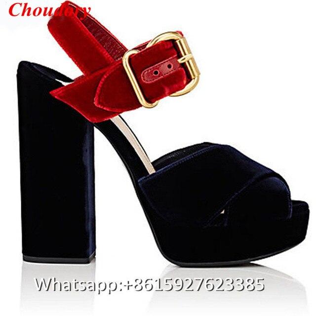5a457ba2959 Scarpe Donna Scarpe in Cina per I Colori Contrastati Velluto Caviglia-strap  Sandali Della Piattaforma