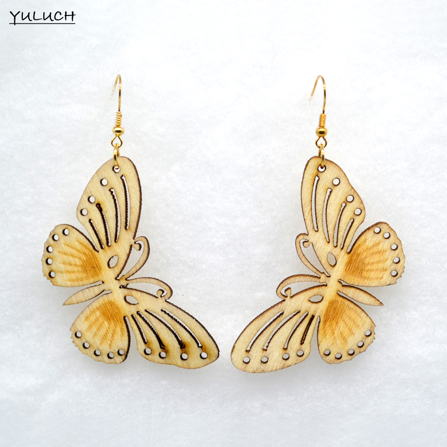Naturally dyed butterfly thread earrings