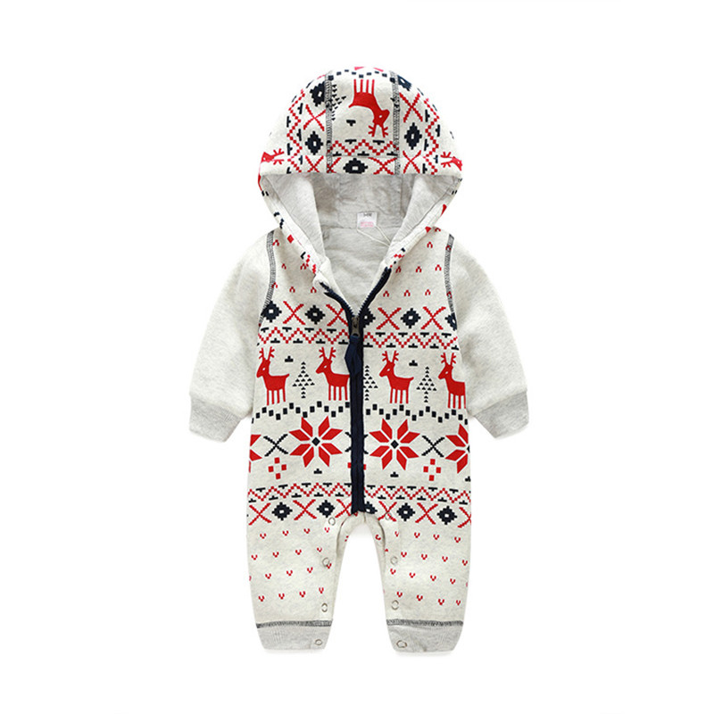 Newborn Cotton Baby Romper Long Sleeve Christmas Deer Baby Boy Girl Clothes Autumn Winter Zipper Hooded Infant Baby Clothing newborn baby boy rompers autumn winter rabbit long sleeve boy clothes jumpsuits baby girl romper toddler overalls clothing