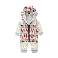 Newborn Cotton Baby Romper Long Sleeve Christmas Deer Baby Boy Girl Clothes Autumn Winter Zipper Hooded