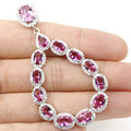 Long Big Drop Created Pink Tourmaline, White CZ SheCrown Woman's Party   Silver Pendant 62x33mm