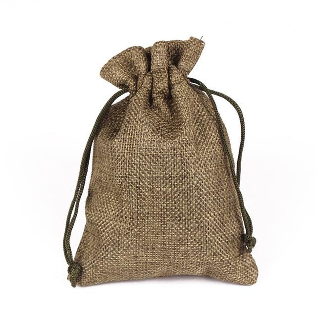 50Pcs Vintage Natural Hemp Small Jute Bag Large Burlap Gift Bags Wedding Decoration Hessian Linen Drawstring