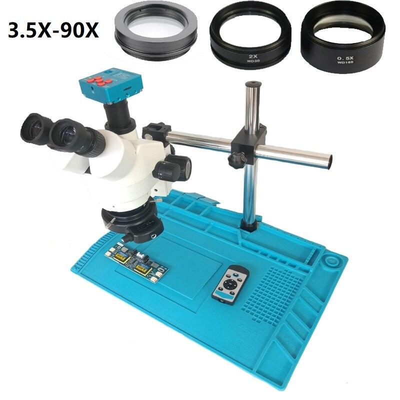 3.5X 7X 45X 90X Simul-focal 30MP HDMI USB Câmera Microscópio Trinocular Stereo Zoom Microscópio 144 LED Luz Isolamento mat Pad