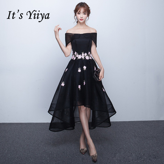 It\'s YiiYa Sales Black Red Boat Neck Asymmetrical Tulle with Flowers ...