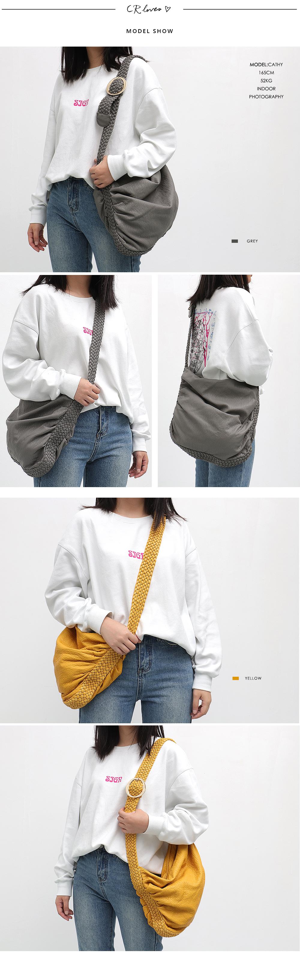 CEZIRA Big Soft Casual Women Bags Girl Wash PU Leather School Handbag Ladies Adjustable Woven Buckle Belt Messenger&Shoulder Bag 4