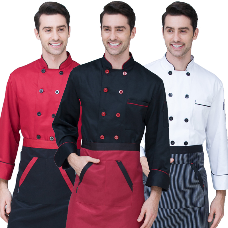 New Chef's Long-sleeved Breathable Outfit Summer Wear Work Clothes Men And Women Overalls Coats Hotel Chef Black Jacket Uniform