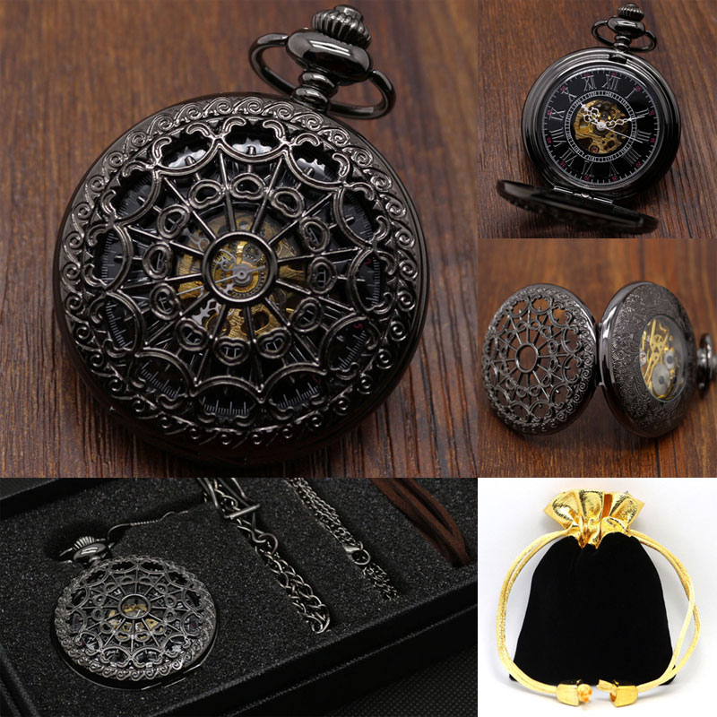 Black Web Hollow Design Skeleton Black Mechanical Hand Wind Pocket Watch with Chain Box Bag Strap for Men Women Best Gift Sets unique smooth case pocket watch mechanical automatic watches with pendant chain necklace men women gift relogio de bolso