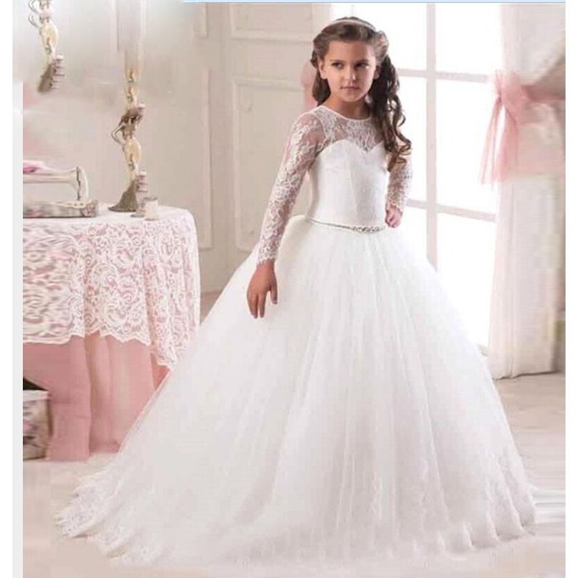 Hot Sale 2017 Long Sleeve   Flower     Girl     Dresses   for Weddings Lace First Communion   Dresses   for   Girls   Pageant   Dresses   White Ivory