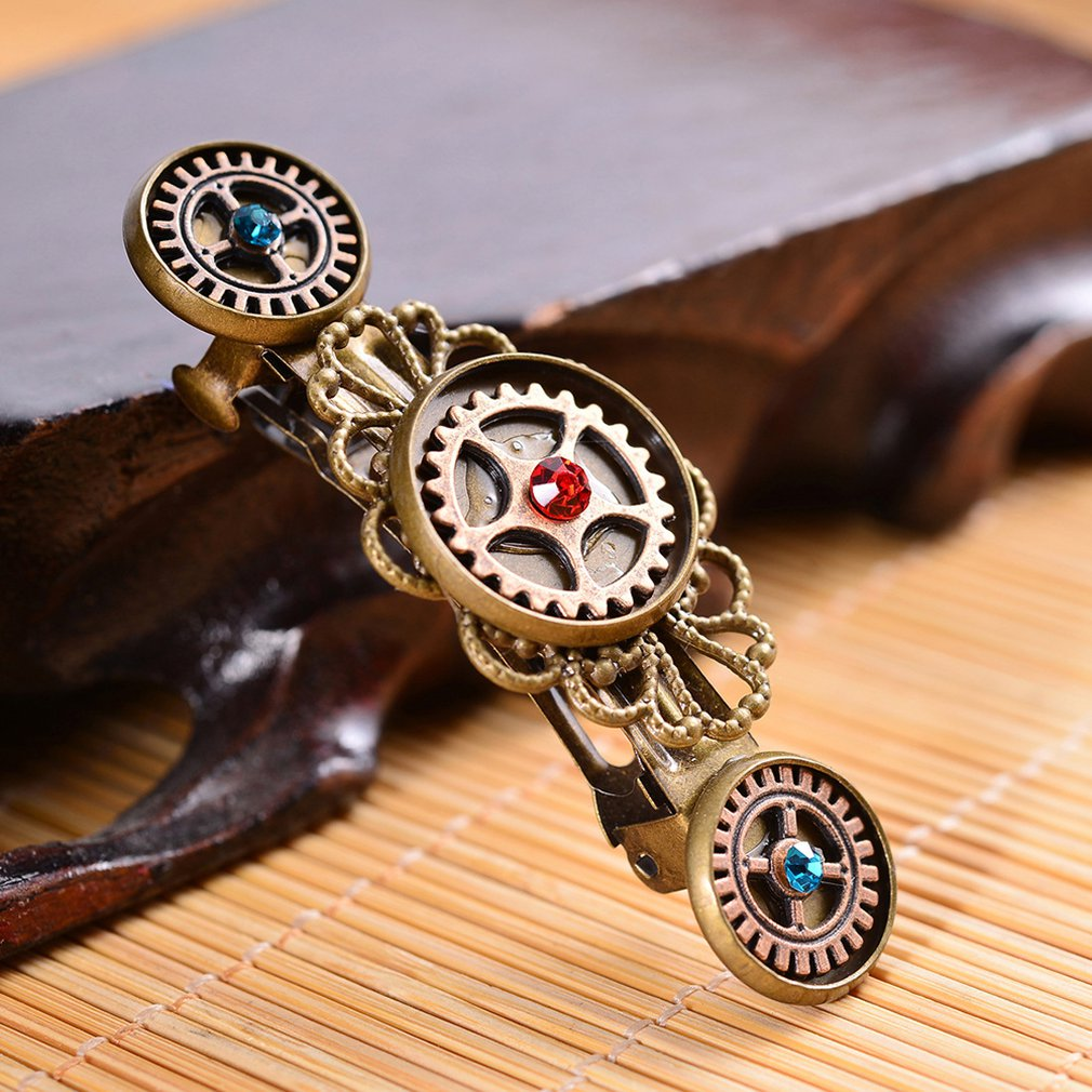Fashion Jewelry Steampunk Gear Alloy Butterfly Spring Clip Hair Clip Popular Hair Accessories Metal Alloy in Hair Clips Pins from Beauty Health