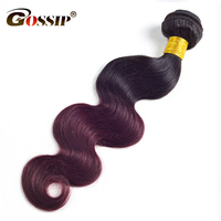 Gossip Hair Extension Ombre Brazilian Hair Weave Bundles Two Tone 1B Burgundy Red 99J Body Wave
