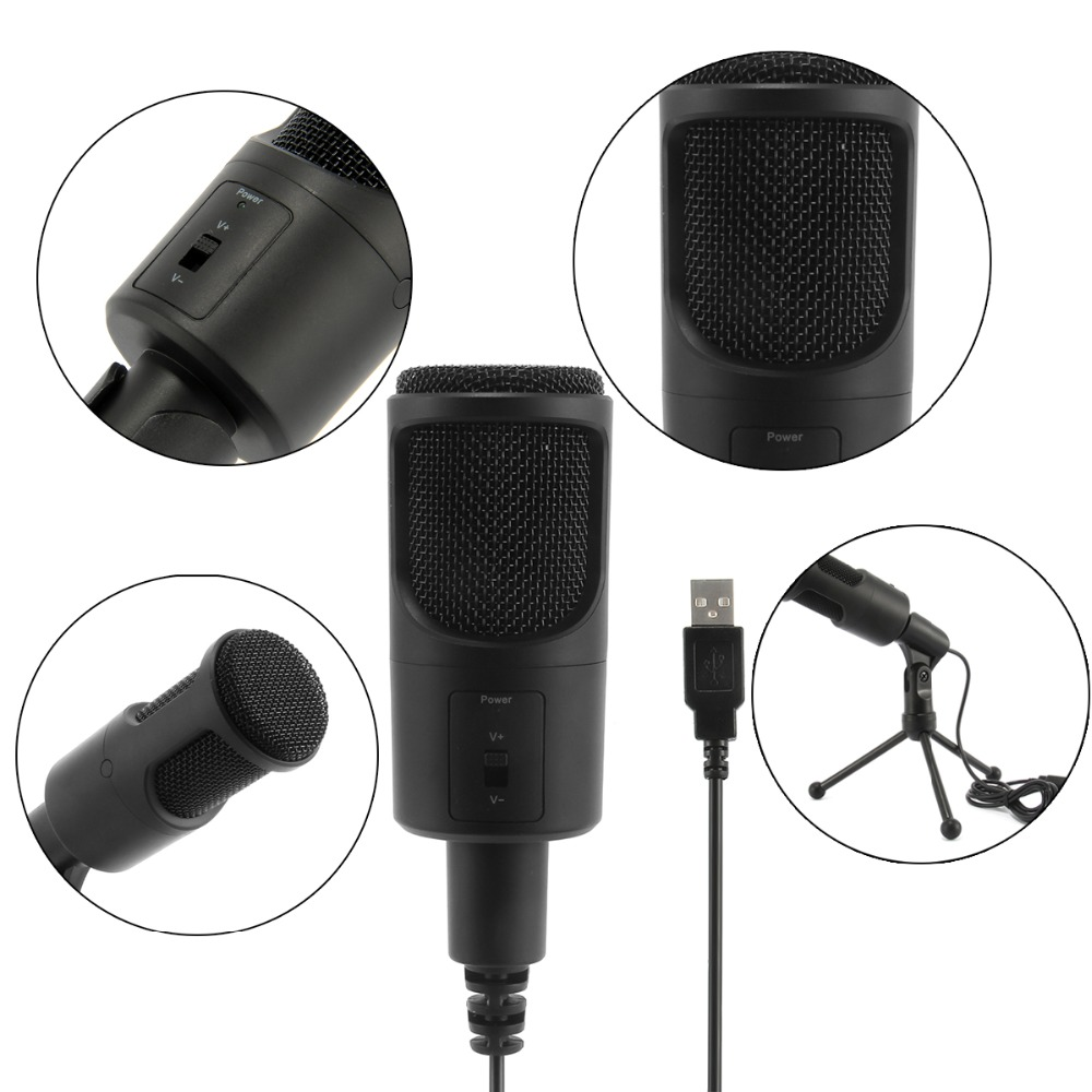 Soonhua New Professional Microphone Portable Usb Studio Audio Recording Mic With Shock Mount Stand For Singing Game Chatting Cheap Sales Consumer Electronics