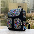 2016 New National Embroidery Backpack Canvas Peony Embroidered Girl Student Schoolbags Shoulder Bag Zipper Travel Rucksack
