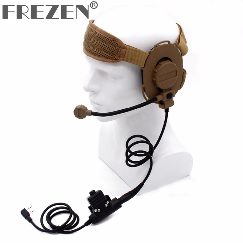 HD03 Z Tactical Bowman Elite II Headset With U94 Style PTT For Kenwood BaoFeng UV-5R GT-3TP UV-82 BF-F8HP BF-F9 V2+ UV-5RE Plus