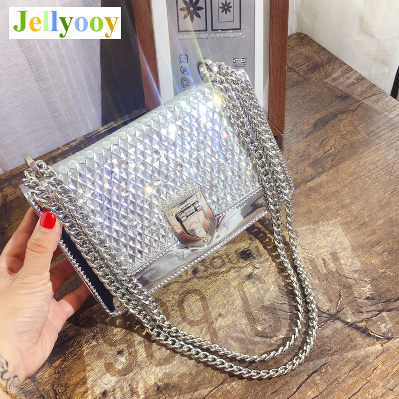 Luxury Fashion Lady Chain Shoulder Bags Diamond Smooth Shiny Patent Leather Women Messenger Bag Clutch Purses and Handbags Louis
